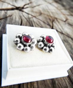 Earrings Garnet Studs Flower Red Gemstone Silver Handmade Sterling 925 Floral Gothic Dark Vintage Antique Jewelry