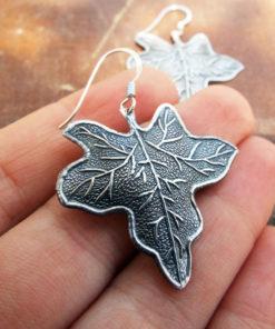 Earrings Leaf Silver Handmade Dangle Drop Earrings Sterling 925 Nature Jewelry