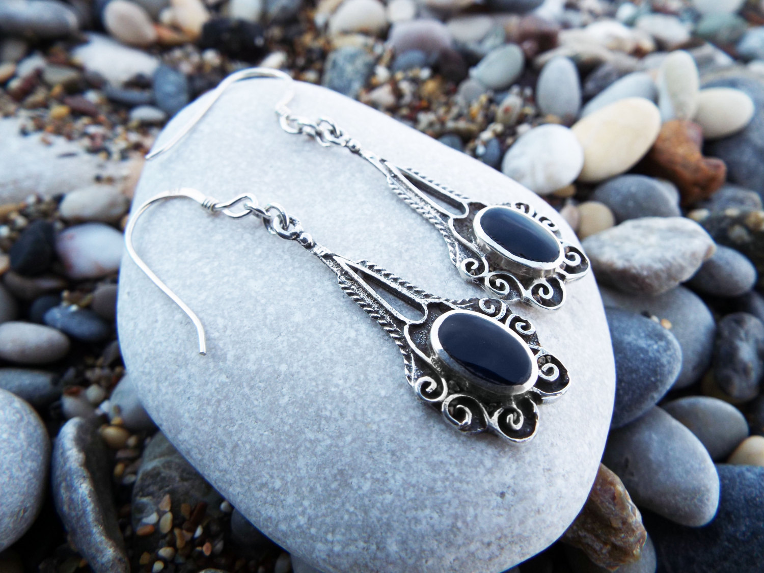 Earrings Onyx Gemstone Black Silver Handmade Sterling 925 Dangle Drop Jewelry Gothic Dark Antique Vintage