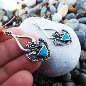 Earrings Turquoise Gemstone Silver Handmade Sterling 925 Dangle Drop Antique Vintage