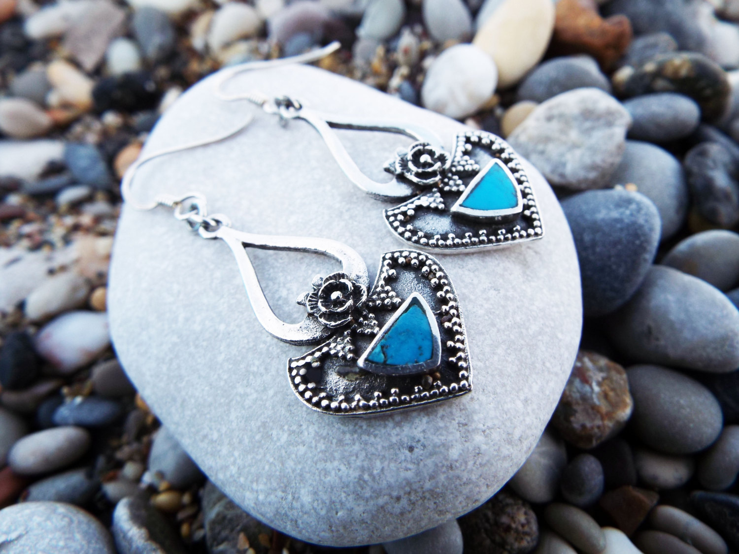 Earrings Turquoise Gemstone Silver Handmade Sterling 925 Dangle Drop Antique Vintage