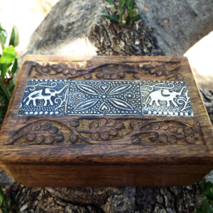 Elephant Box Indian Balinese Hindu Ganesha Mango Tree Wood Floral Handmade Carved Flower Animal Symbol Trinket Jewelry Chest