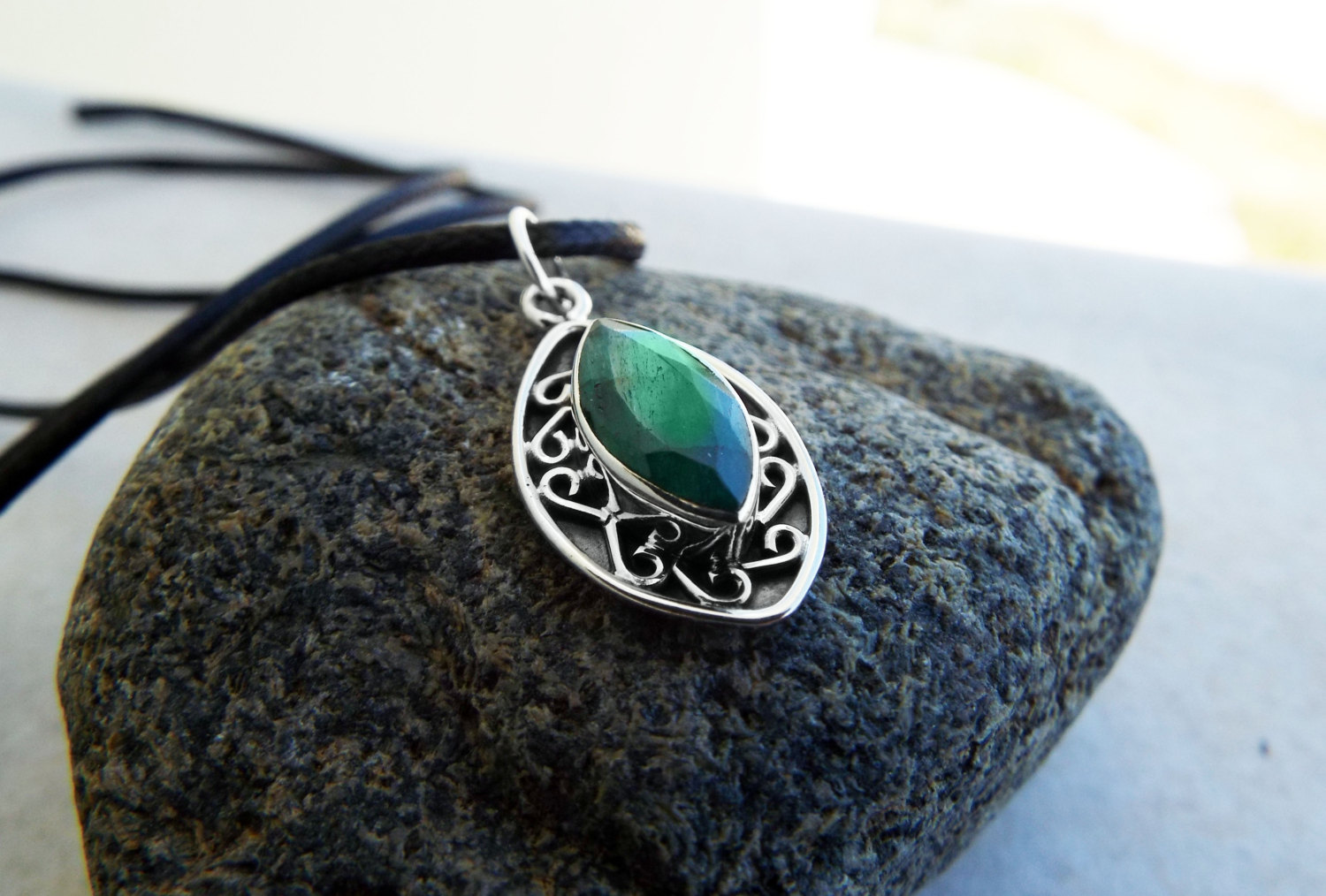 Emerald Pendant Gemstone Silver Necklace Green Handmade ... - photo#35