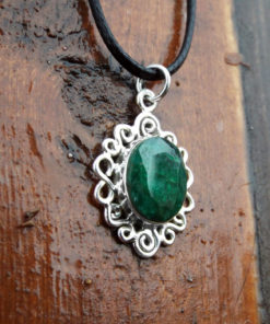 Emerald Pendant Gemstone Silver Necklace Green Handmade Precious Stone Sterling 925 Boho Jewelry