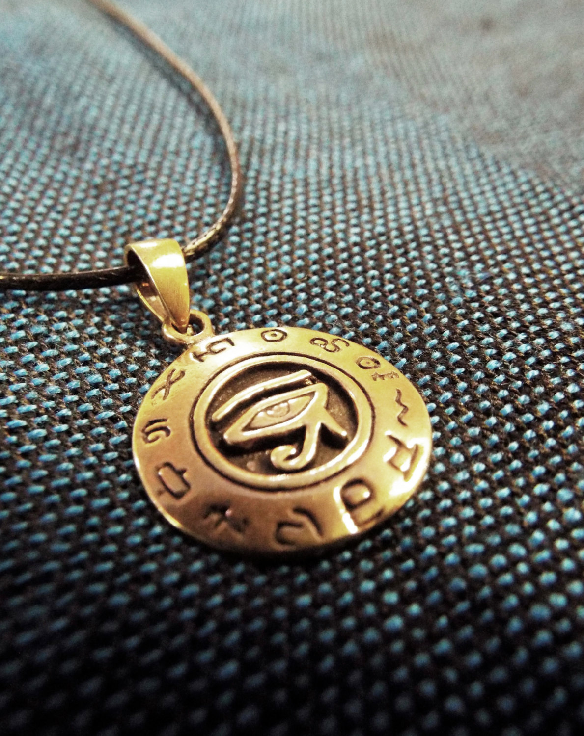 copper eye of horus pendant