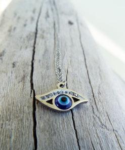 Eye Pendant Silver Handmade Necklace Evil Eye Protection Superstition Greek Symbol Jewelry Ματακι Μεταγιον Ατσαλι