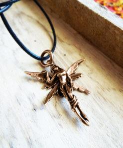 Fairy Pendant Handmade Necklace Faerie Magic Pixie Bronze Gothic Fantasy Dark Wings Fairytale Jewelry