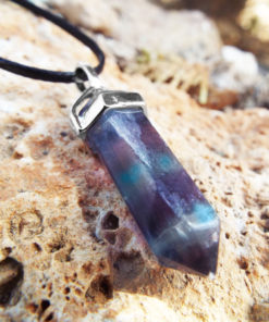 Fluorite Pendulum Pendant Silver Handmade Gemstone Necklace Stone Gothic Magic Dark Wicca Jewelry