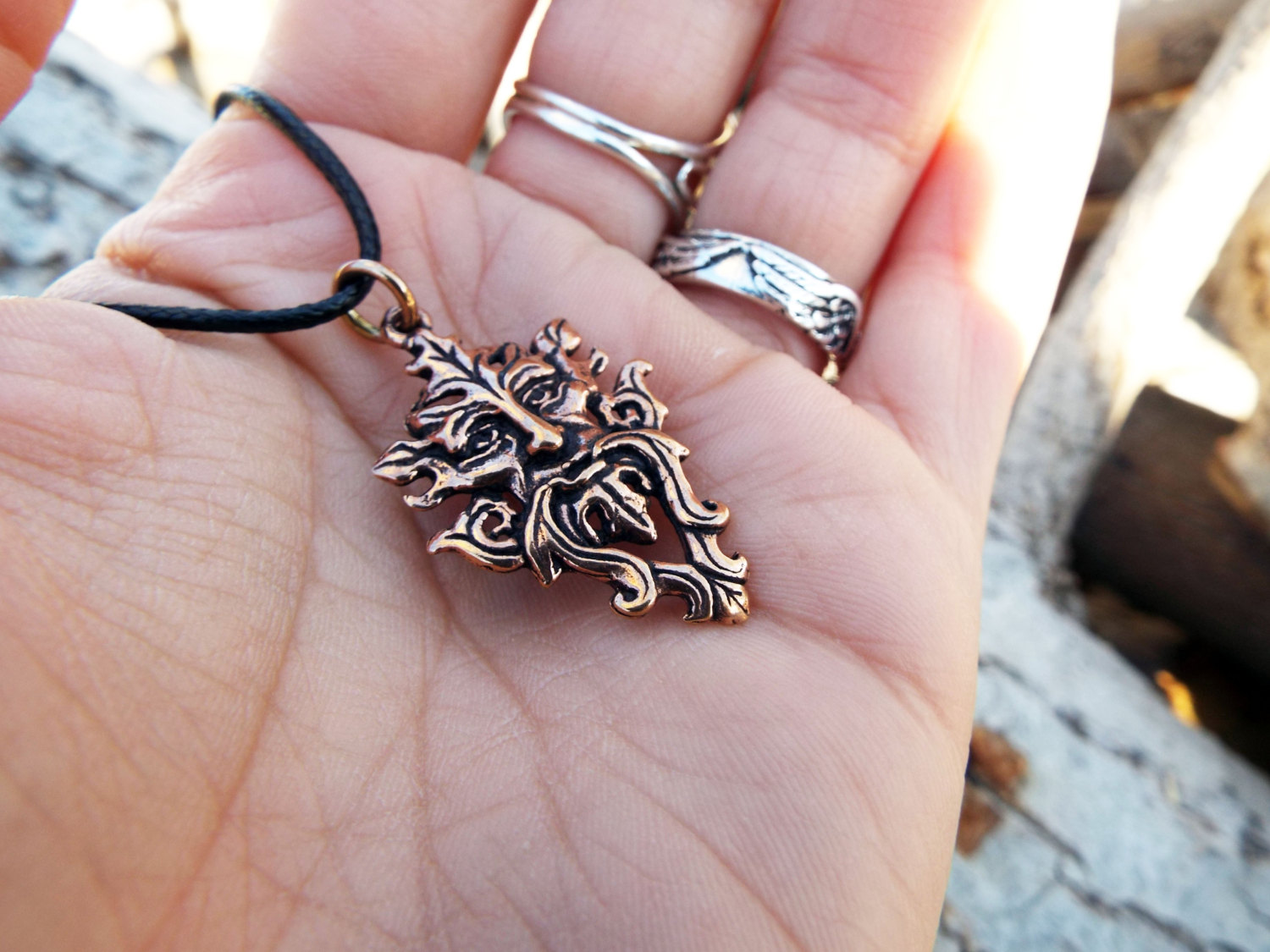 Greenman Pendant Nature Pagan Celtic Handmade Necklace Gothic Symbol Dark Natural Bronze Jewelry