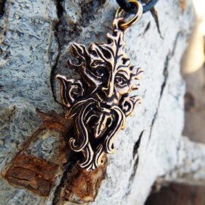 Greenman Pendant Nature Pagan Celtic Handmade Necklace Gothic Symbol Dark Natural Bronze Jewelry