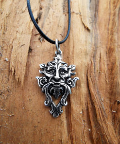 Greenman Pendant Nature Pagan Silver Celtic Handmade Sterling 925 Necklace Gothic Symbol Dark Natural Jewelry