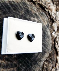 Heart Earrings Studs Black Austrian Crystal Stone Silver Handmade Gothic Dark Jewelry Love Valentine