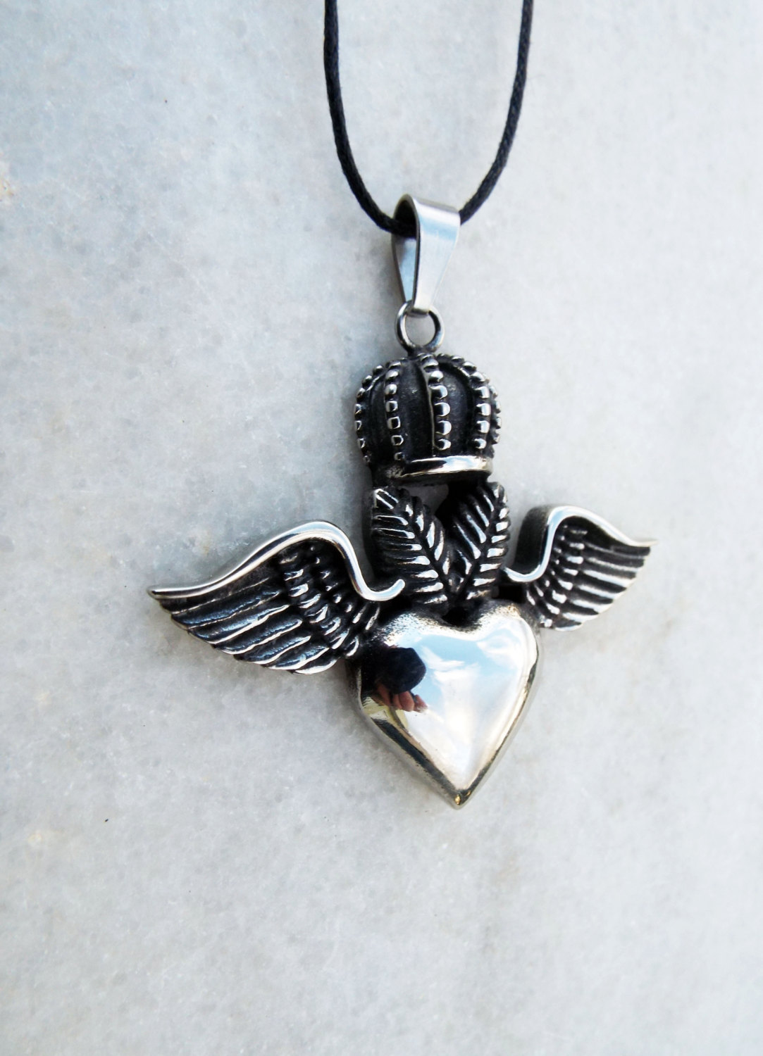 heart pendant crown claddagh angel wings necklace silver. Black Bedroom Furniture Sets. Home Design Ideas