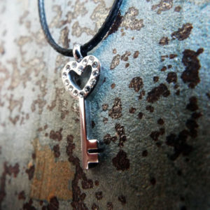 Heart Pendant Key Silver Handmade Necklace Stainless Steel Dark Gothic Jewelry Valentine VIntage Antique