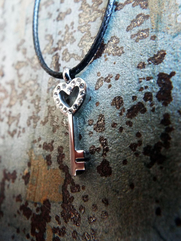 Heart Pendant Key Silver Handmade Necklace Stainless Steel Dark Gothic Jewelry Valentine VIntage Antique