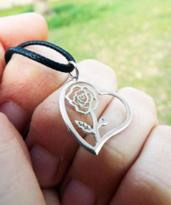 Heart Pendant Rose Flower Silver Handmade Sterling 925 Love Necklace Jewelry Valentine