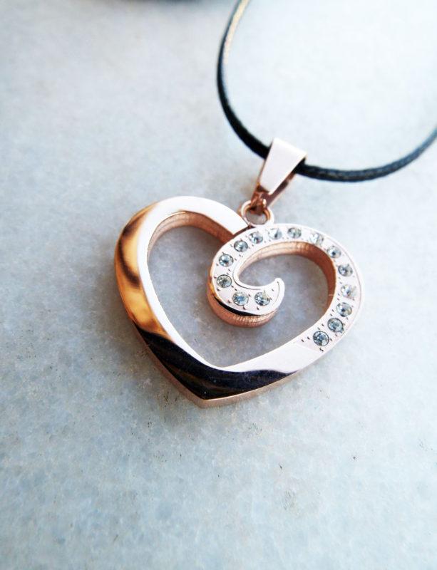 Heart Pendant Zircon Gemstone Rose Gold Handmade Necklace Love Stone Jewelry Valentine