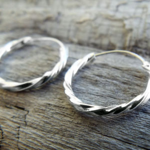 Hoop Earrings Silver Bali Balinese Sterling 925 Tribal Handmade Jewelry Classic Traditional