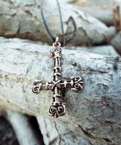 Inverted Cross Pendant St Peter Crucifix Necklace Handmade Gothic Dark Bronze Jewelry