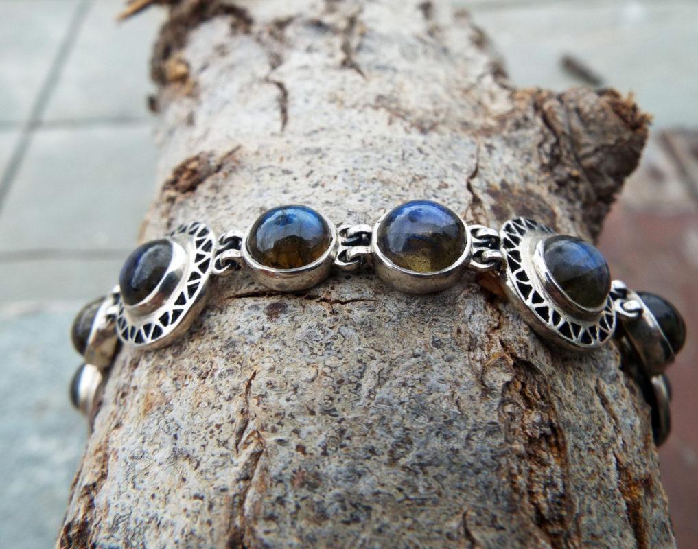 Labradorite Bracelet Silver Cuff Dangle Chain Handmade Sterling 925 Gemstone Gothic Dark Antique Vintage Jewelry