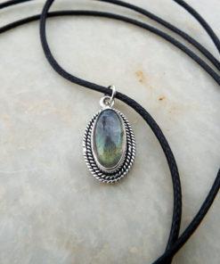 Labradorite Pendant Silver Handmade Gemstone Necklace Sterling 925 Drop Stone Oval Gothic Dark Antique Vintage Jewelry