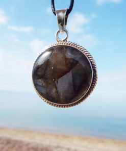 Labradorite Pendant Silver Handmade Gemstone Necklace Sterling 925 Stone Gothic Dark Antique Vintage Jewelry