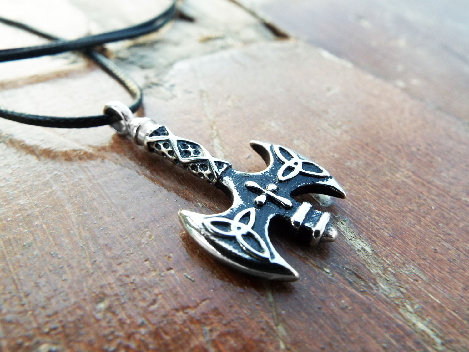 Labrys Pendant Axe Silver Double Axe Symbol Sterling 925 Triquetra Cross Gothic Handmade Ancient Greek Necklace Jewelry