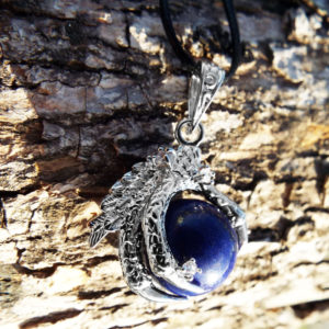 Lapis Lazuli Pendant Dragon Necklace Handmade Silver Gothic Dark Wicca Magic Jewelry
