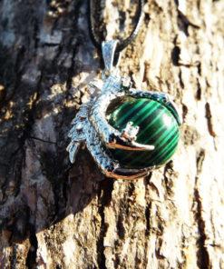 Malachite Pendant Green Gemstone Dragon Silver Necklace Handmade Ball Gothic Dark Jewelry