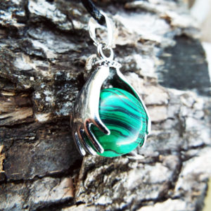 Malachite Pendant Green Gemstone Silver Necklace Handmade Ball Gothic Dark Jewelry
