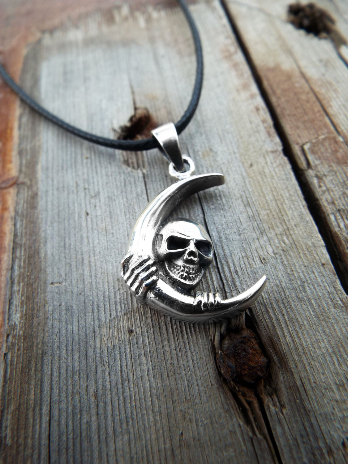 Sterling silver moon skull pendant for Michael b jewelry death