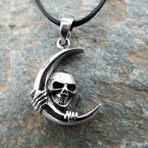 Moon Skull Pendant Silver Handmade Necklace Sterling 925 Gothic Dark Crossbones Skeleton Death Jewelry