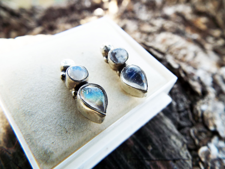moonstone earrings studs gemstone handmade silver