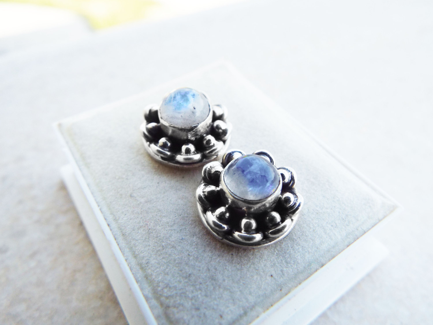 Moonstone Earrings Studs Gemstone Stone Handmade Silver Gothic Dark Sterling 925 Jewelry