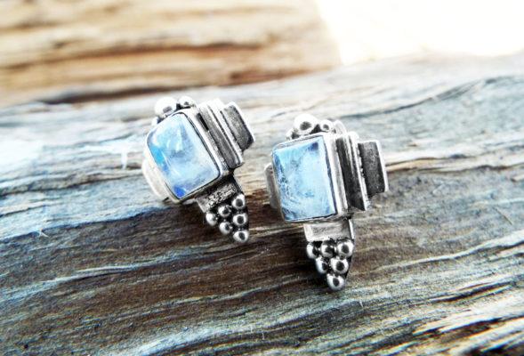 Moonstone Earrings Studs Gemstone Stone Handmade Silver Gothic Dark Sterling 925 Jewelry