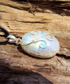 Moonstone Pendant Silver Handmade Necklace Sterling 925 Gemstone Stone Gothic Dark Antique Vintage Jewelry