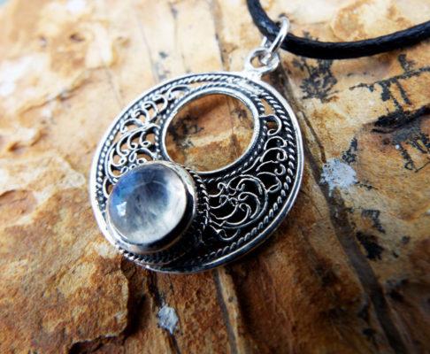 Moonstone Pendant Silver Handmade Rainbow Moonstone Gemstone Sterling 925 Necklace Tear Drop Antique Vintage Gothic Μεταγιον Φεγγαροπετρα
