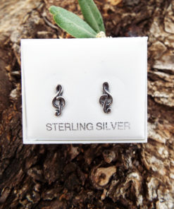 Music Notes Treble Clef Earrings Studs Silver Handmade Sterling 925 Jewelry Tune Muso