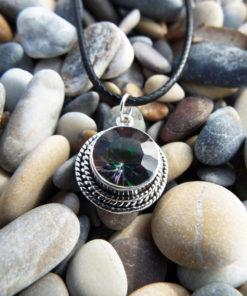 Mystic Quartz Pendant Silver Gemstone Handmade Sterling 925 Gothic Dark Magic Jewelry Protection