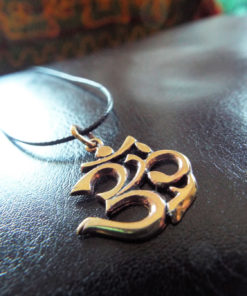 Om Pendant Bronze Handmade Necklace Symbol Indian Yoga Jewelry Meditation