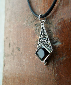 Onyx Pendant Silver Necklace 925 Black Gemstone Handmade Vintage Antique Dark Gothic Jewelry