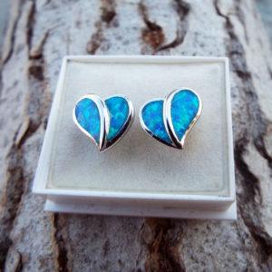 Opal Earrings Hearts Studs Silver Gemstone Love Heart Handmade Sterling 925 Antique Vintage Jewelry