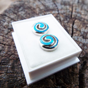 Opal Earrings Studs Silver Gemstone Handmade Sterling 925 Swirl Spiral Antique Vintage Jewelry