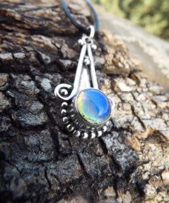 Opalite Pendant Silver Gemstone Necklace Handmade Jewelry Bohemian