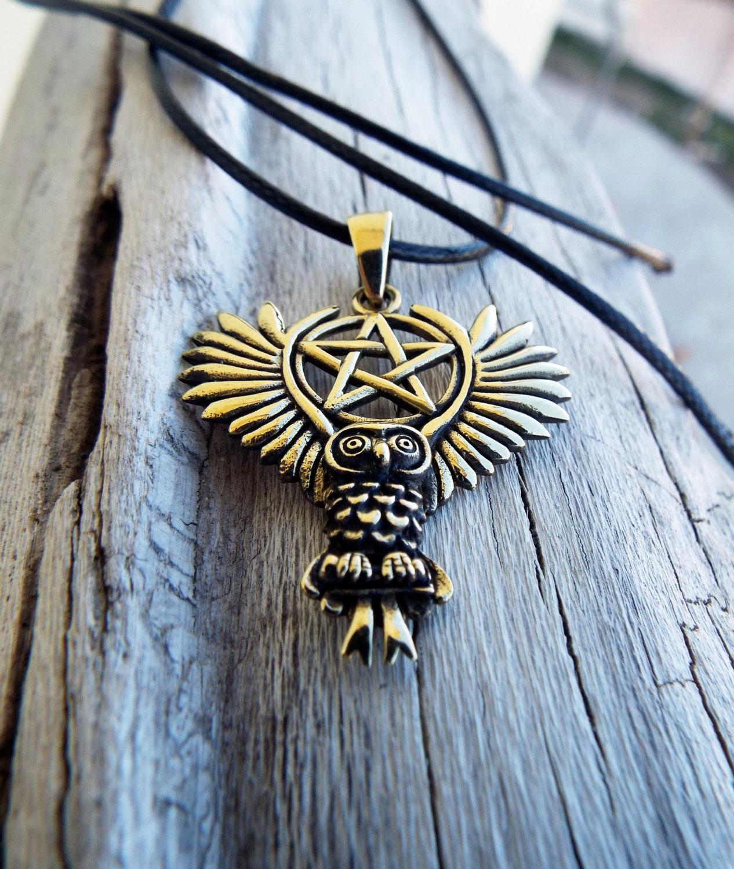 Owl Pendant Bronze Moon Pentagram Handmade Necklace Wisdom Celtic Wiccan Magic Jewelry
