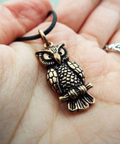Owl Pendant Handmade Necklace Wisdom Celtic Bronze Bird Animal Symbol Wiccan Magic Jewelry