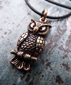Owl Pendant Handmade Necklace Wisdom Celtic Bronze Bird Animal Symbol Wiccan Magic Jewelry