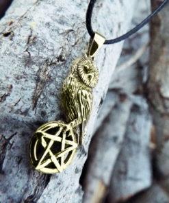 Owl Pendant Pentagram Handmade Necklace Wisdom Celtic Gothic Dark Wiccan Magic Jewelry
