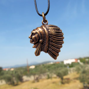 Pendant Bronze Native American Tribal Indian Head Feather Necklace Jewelry
