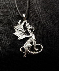 Pendant Dragon Silver Sterling 925 Handmade Gothic Dark Necklace Jewelry 1